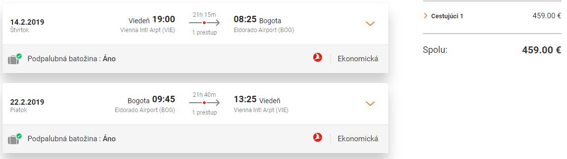 Letenky z Viedne do Bogoty od 459 eur