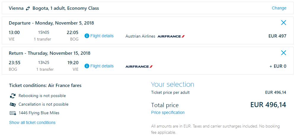Letenky z Viedne do Bogoty od 496 eur