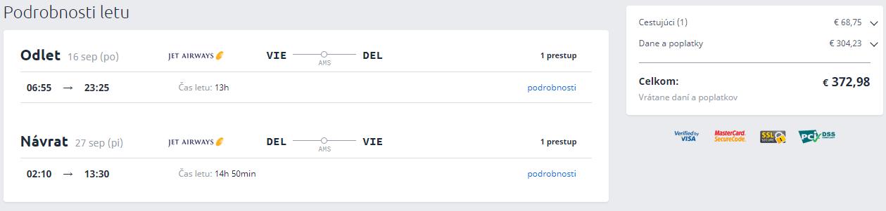 Letenky z Viedne do Dillí od 373 eur
