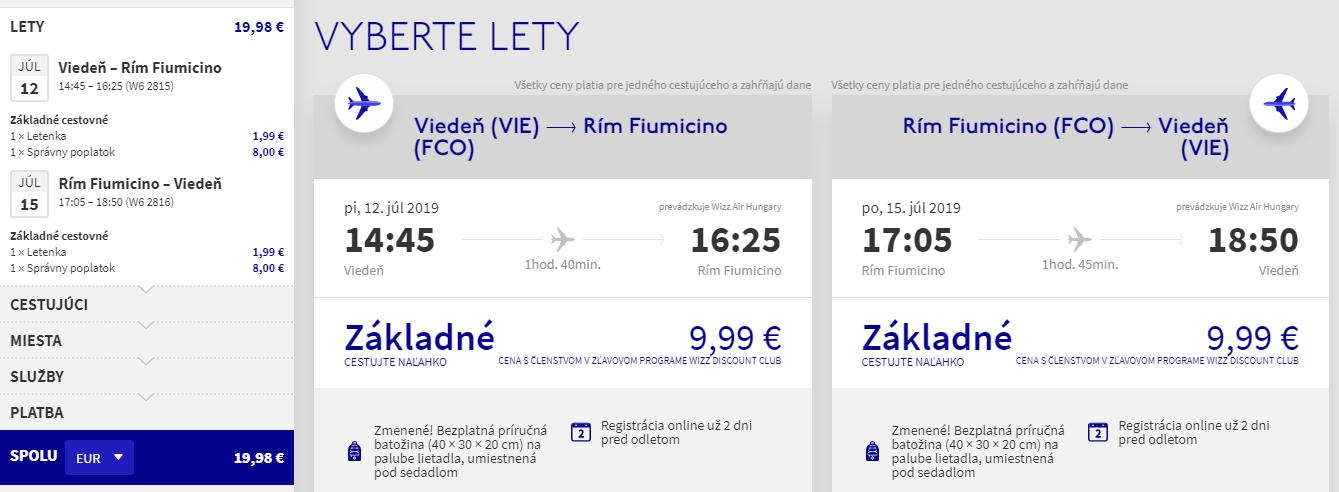 Letenky z Viedne do Ríma aj na predĺžený víkend od 20 eur