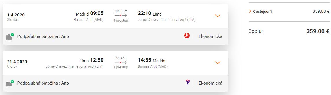 Lima z Madridu s letenkami od 359 eur