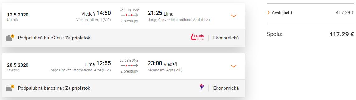Lima z Viedne so zastávkou v Madride s letenkami od 417 eur