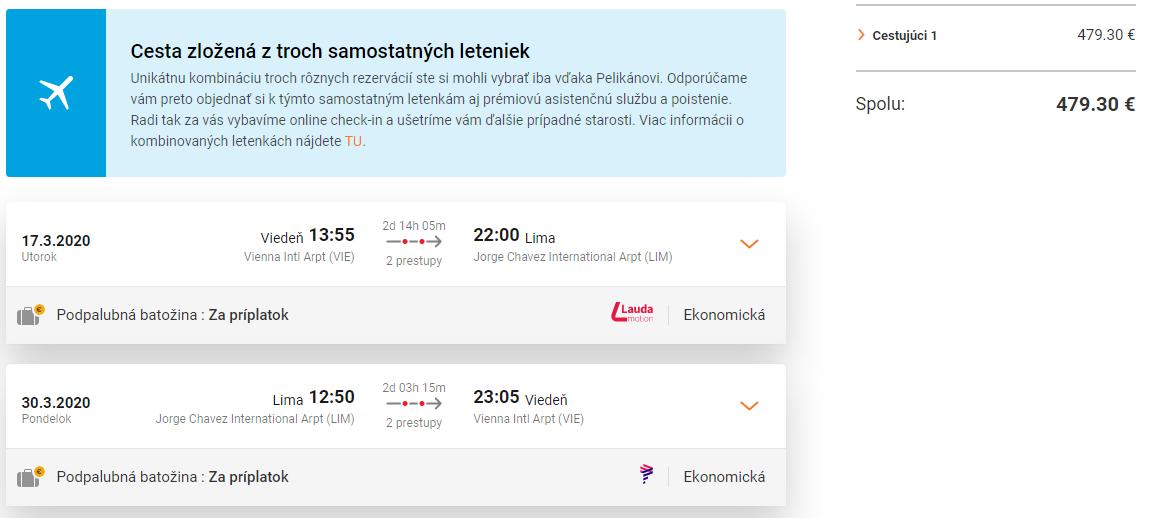 Lima z Viedne so zastávkou v Madride s letenkami od 479 eur