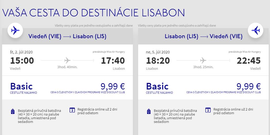 Lisabon z Viedne v letných termínoch od 20 eur