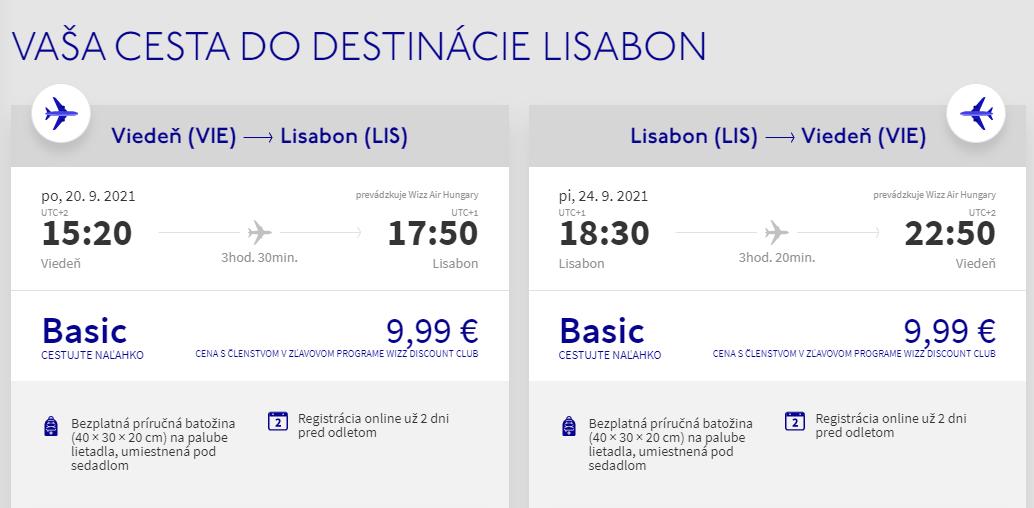 Lisabon z Viedne v septembrových termínoch s letenkami od 20 eur