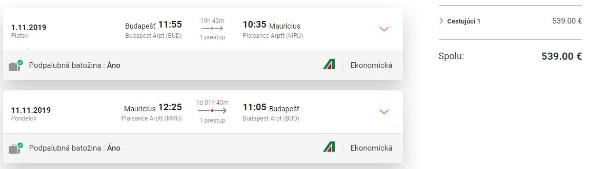 MAURÍCIUS - Letenky z Budapešti aj s veľkou batožinou od 539 eur