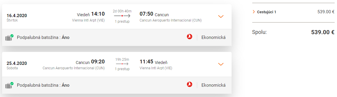 MEXIKO S TURKISH AIRLINES - Letenky z Viedne do Cancunuy od 539 eur