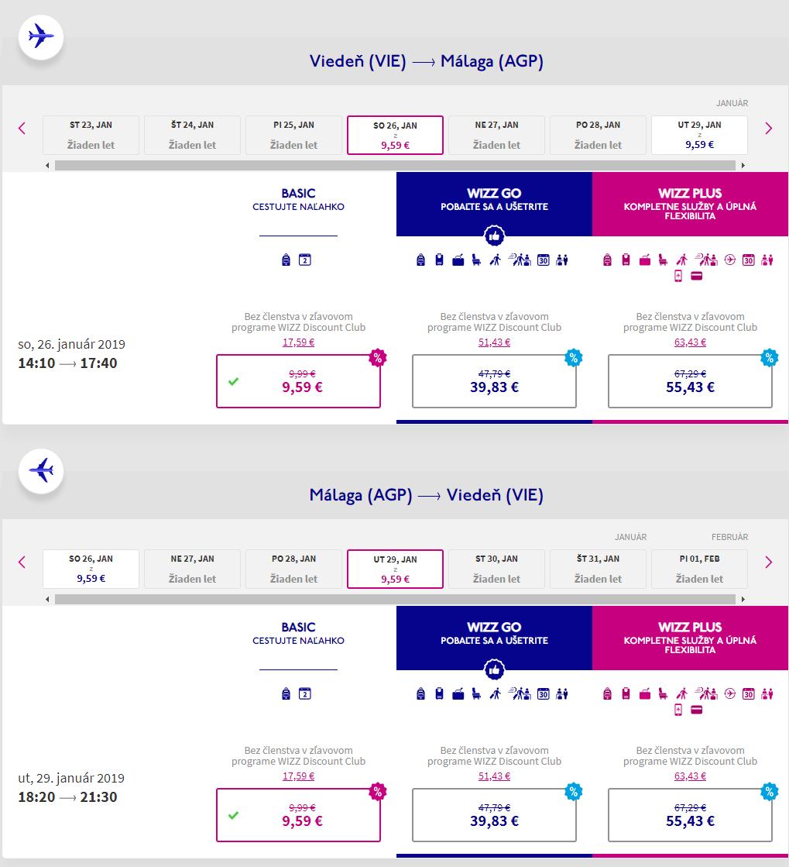 Malaga s lacnými letenkami z Viedne od 19 eur