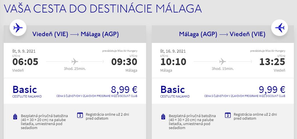 Malaga z Viedne v septembrových termínoch s letenkami od 19 eur
