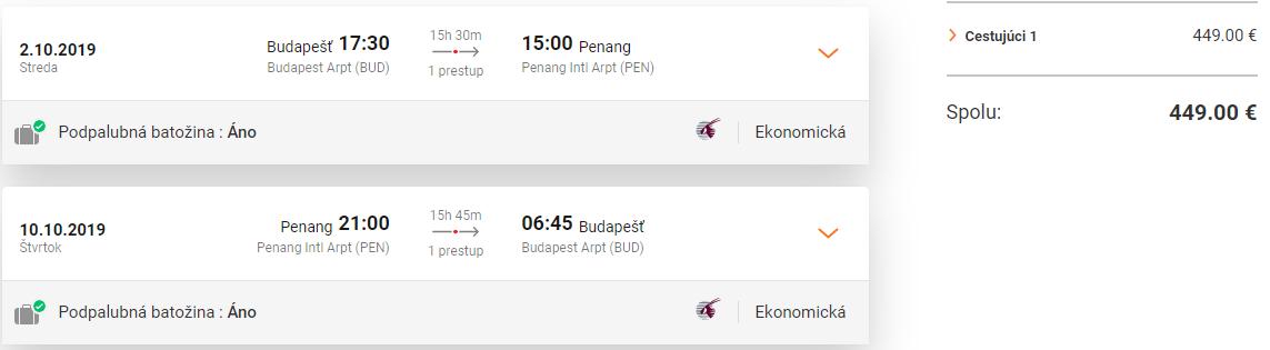 Malajzia s Qatar Airways. Ostrov Penang z Budapešti s letenkami od 449 eur