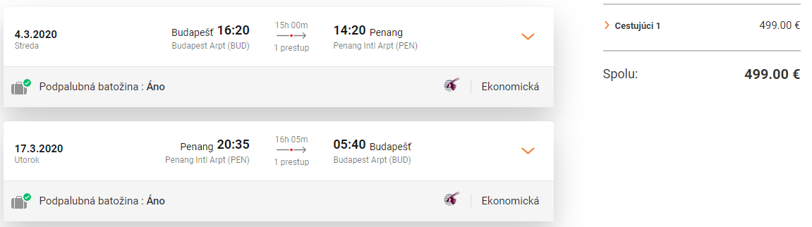 Malajzia s Qatar Airways. Ostrov Penang z Budapešti s letenkami od 499 eur
