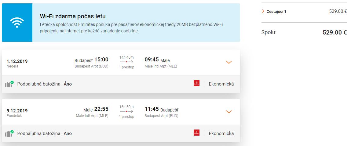 Maldivy s let.spoločnosťou Emirates. Spiatočné letenky z Budapešti od 529 eur