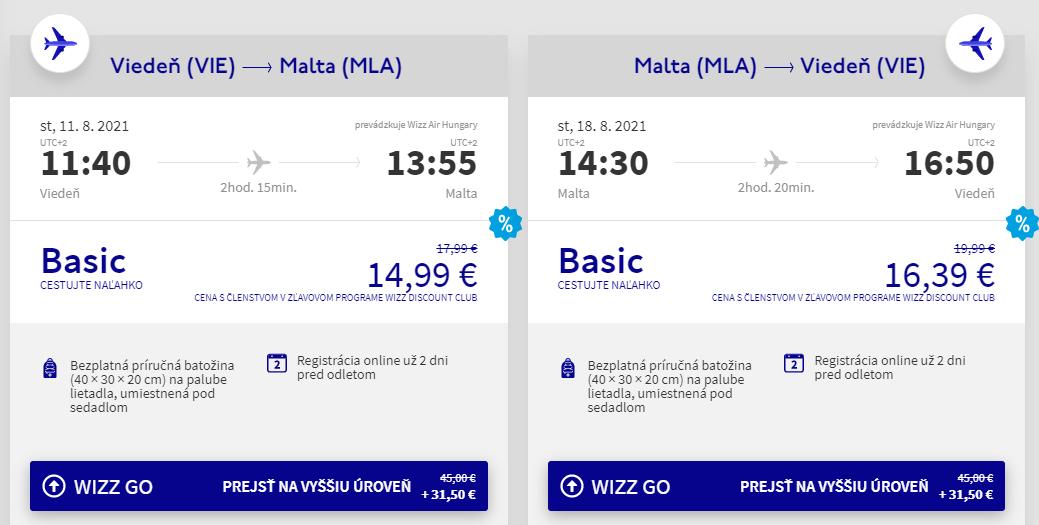 Malta v augustových termínoch s letenkami z Viedne od 31 eur