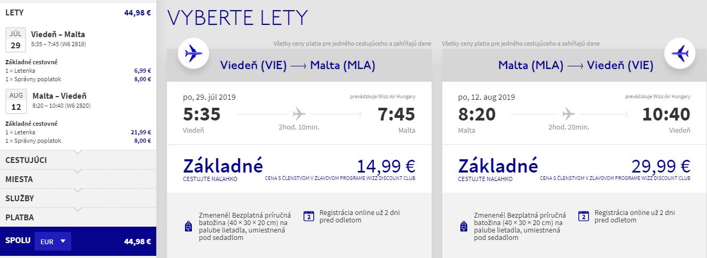 Malta z Viedne na prelome júla a augusta s letenkami od 45 eur