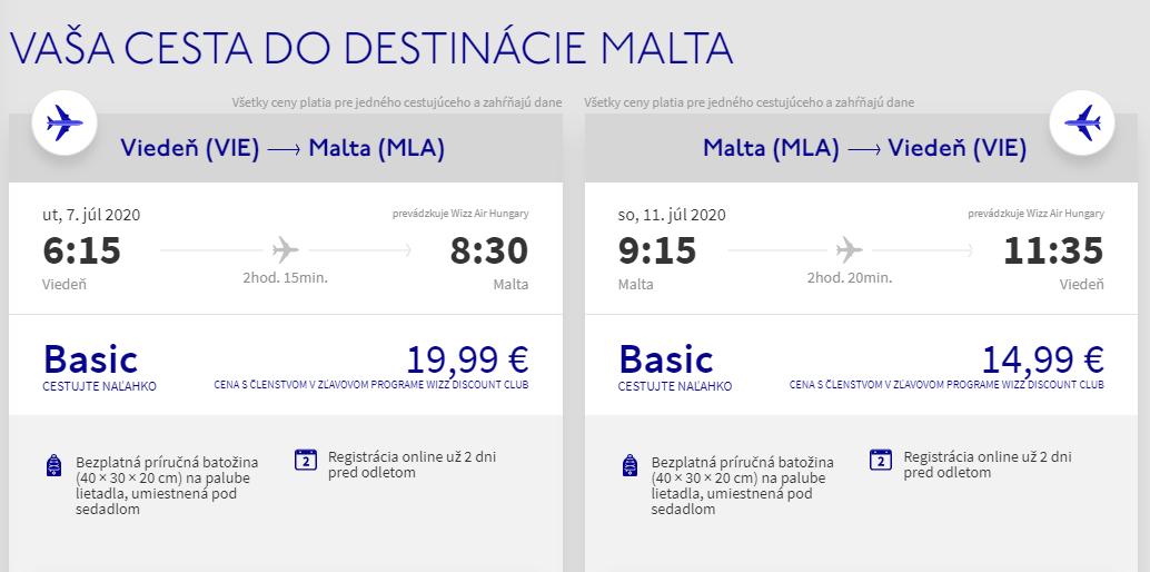 Malta z Viedne v júlových termínoch s letenkami od 35 eur