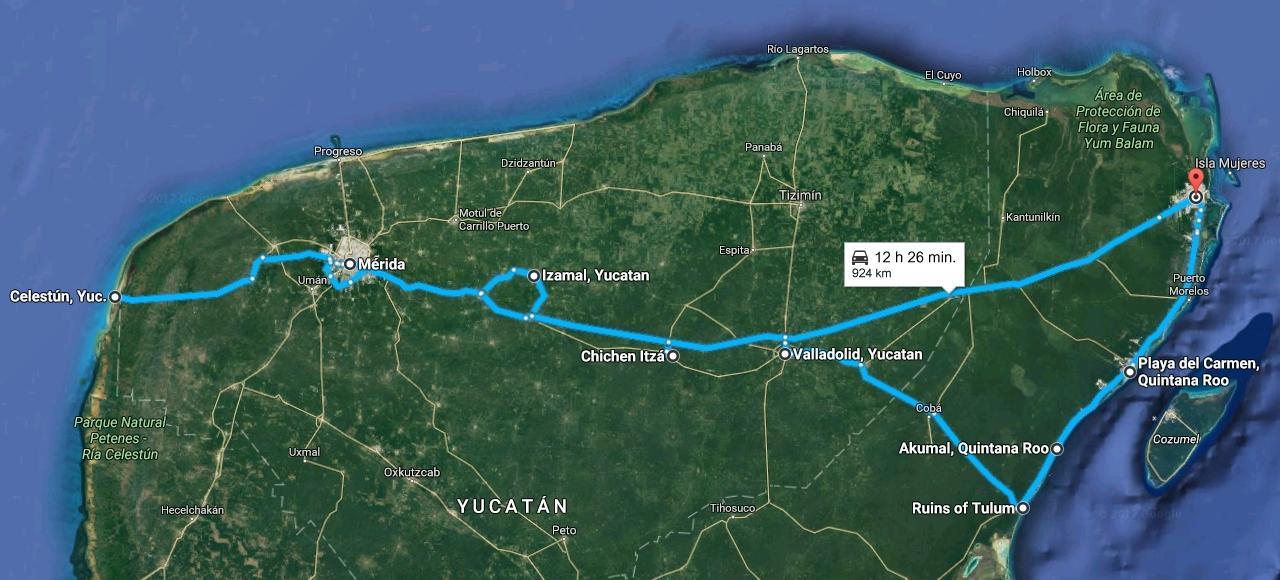 Mapa - Mexiko naša trasa