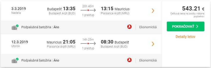 Maurícius s Turkish Airlines. Letenky z Budapešti od 543 eur