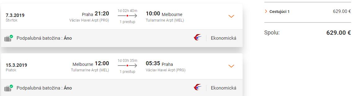 Melbourne z Prahy s letenkami od 629 eur