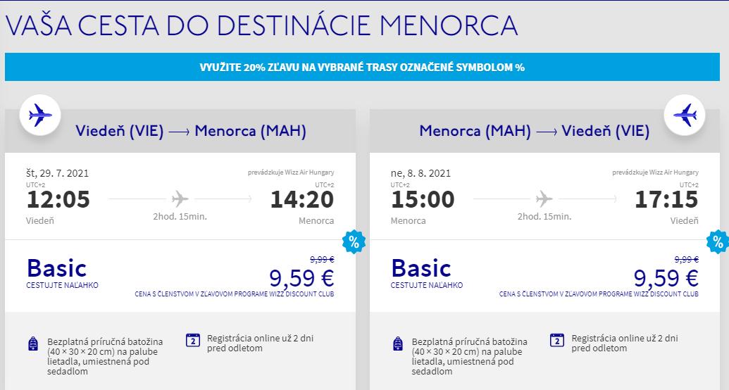 Menorca cez letné prázdniny s letenkami z Viedne už od 19 eur