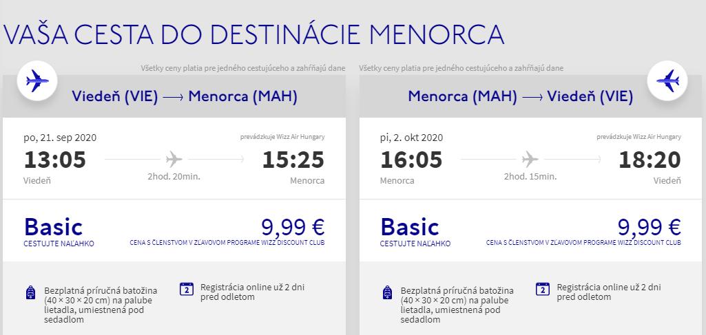Menorca z Viedne koncom leta s letenkami od 20 eur