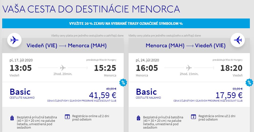 Menorca z Viedne v júlových termínoch s letenkami od 59 eur