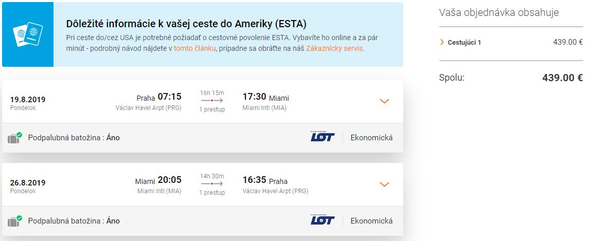 Miami z Prahy aj počas leta a s batožinou do podpalubia od 439 eur