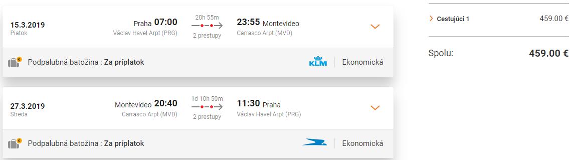 Montevideo s odletom z Prahy od 459 eur