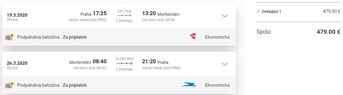 Montevideo s odletom z Prahy od 479 eur