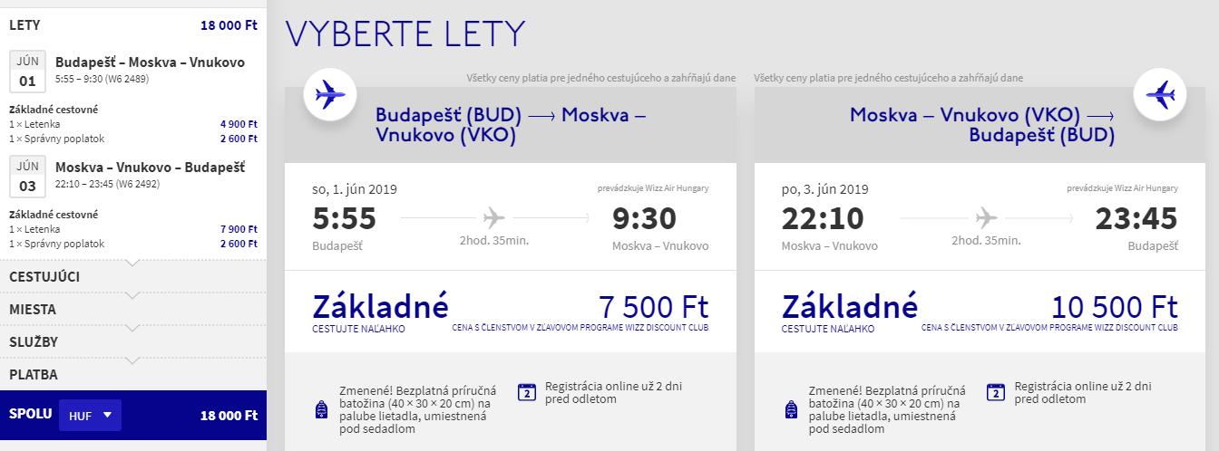 Moskva z Budapešti v júnových termínoch s letenkami od 55 eur