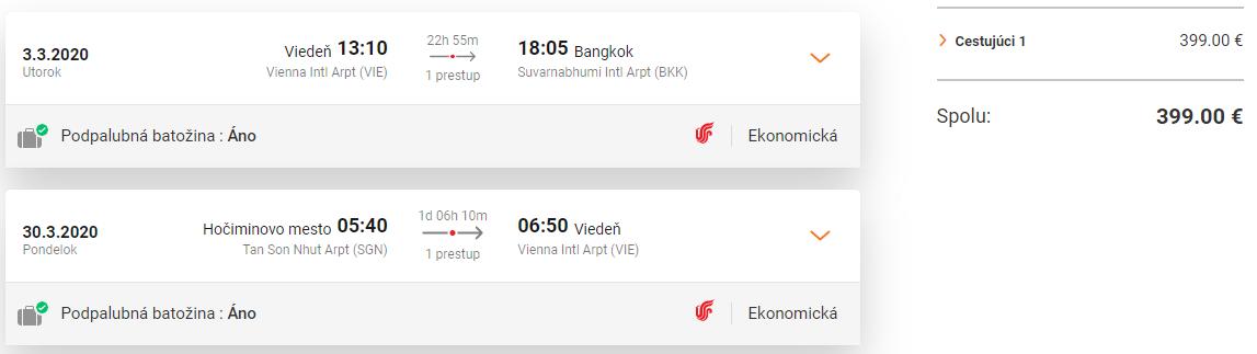 Multi-city letenky z Viedne do Bangkoku a s návratom z Hočiminhovho Mesta od 399 eur