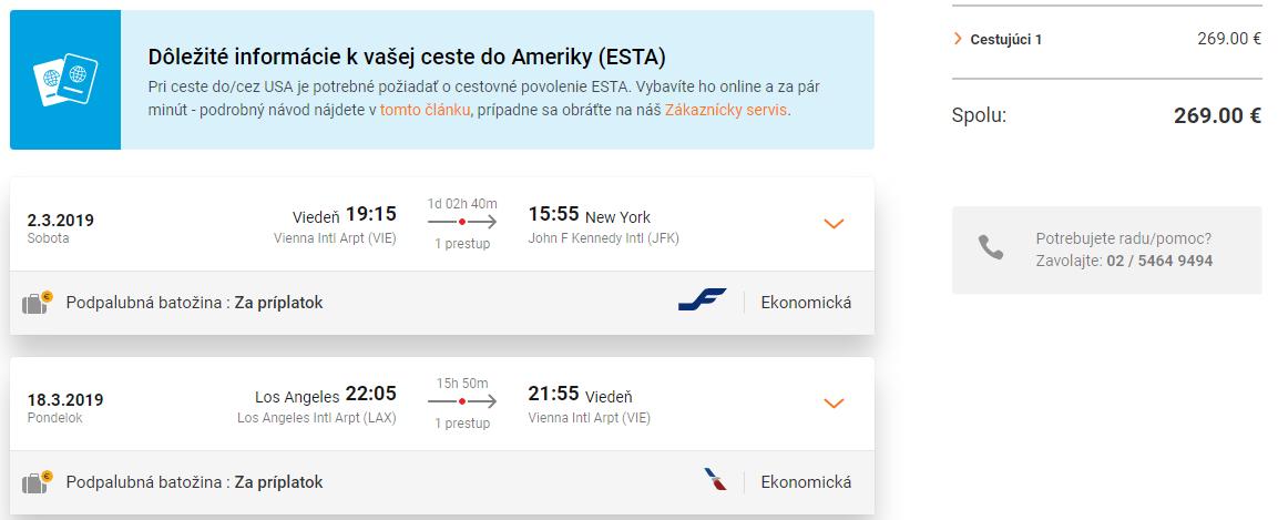 Multi-city letenky z Viedne do New Yorku a s návratom z Los Angeles za cenu už od 269 eur
