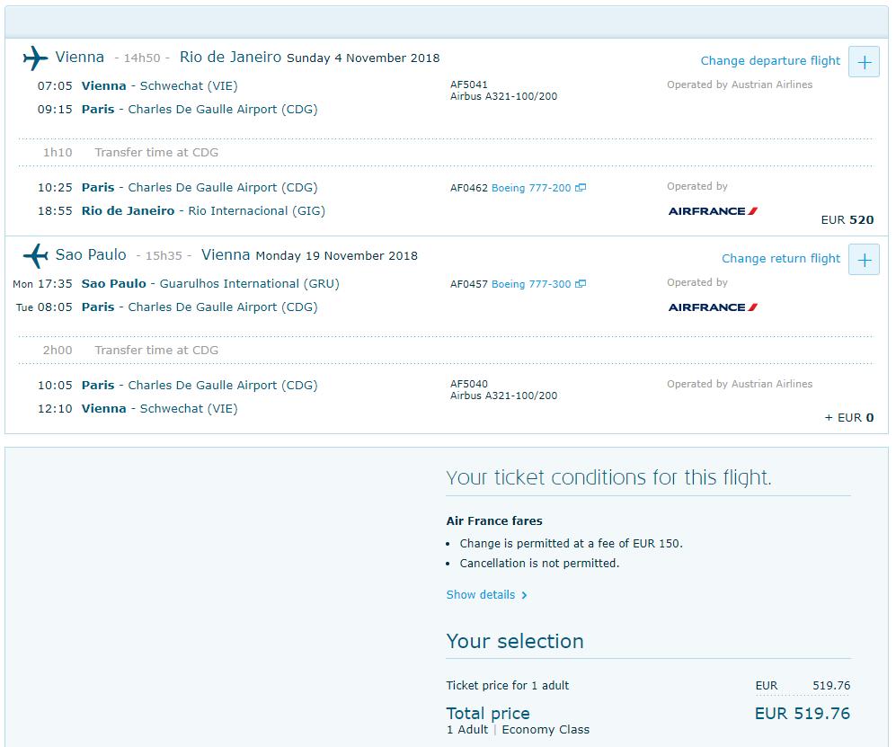 Multi-city letenky z Viedne do Rio De Janeiro a s návratom zo Sao Paulo od 519 eur