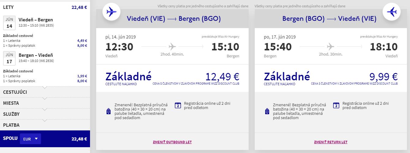 Nórsky Bergen z Viedne začiatkom leta s letenkami od 22 eur