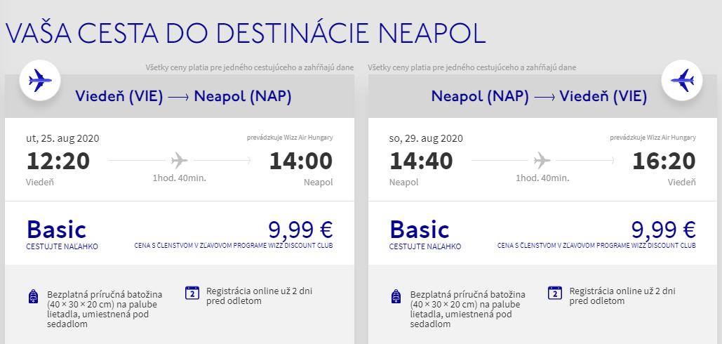 Neapol koncom prázdnin. Letenky z Viedne už od 20 eur