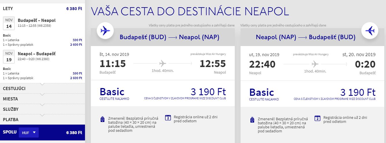 Neapol z Budapešti v jesenných termínoch s letenkami od 19 eur
