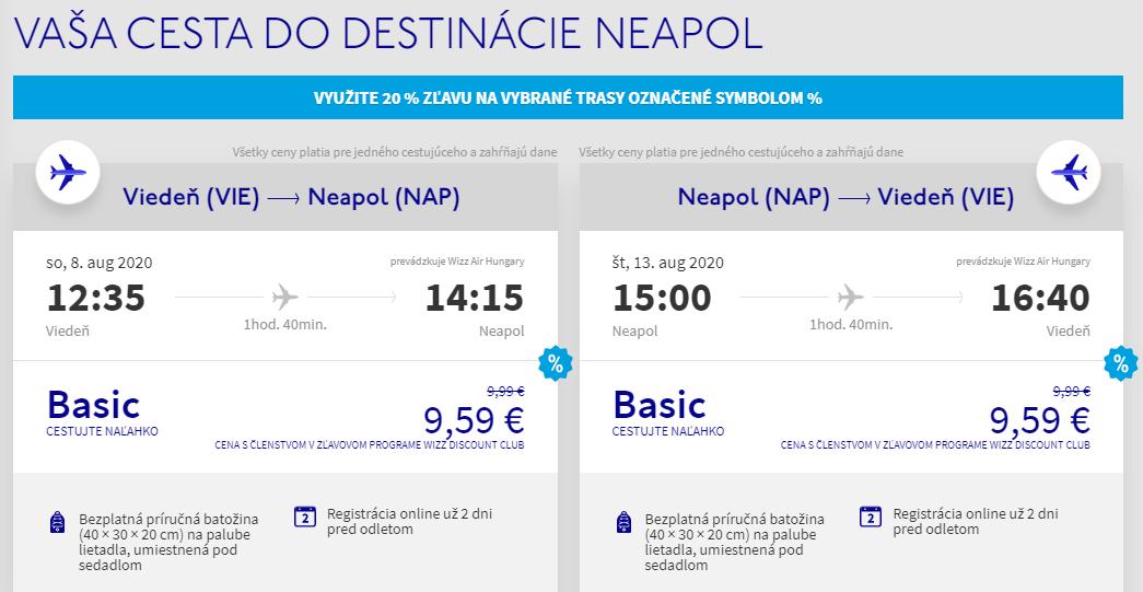 Neapol z Viedne cez letné prázdniny s letenkami od 19 eur