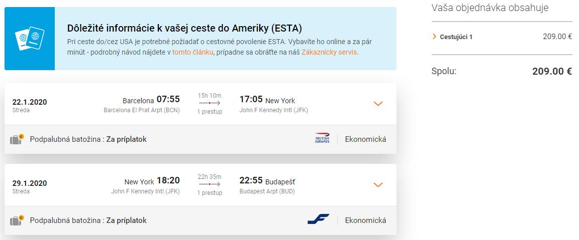New York s multi-city letenkami od 209€. Odlet z Barcelony a návrat do Budapešti alebo Viedne