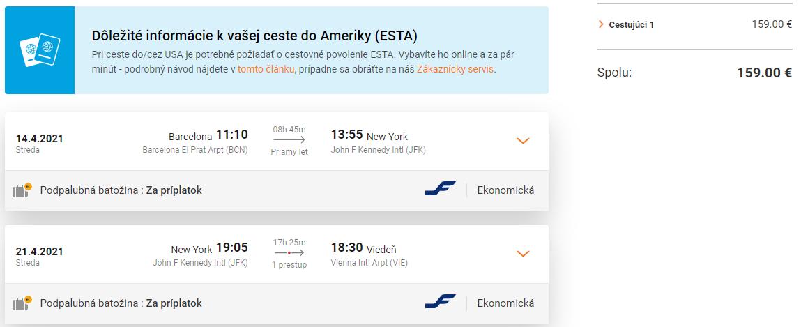 New York s odletom z Barcelony a návratom do Viedne už od 159 eur