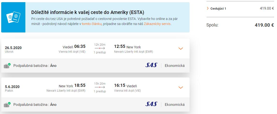 New York z Viedne aj s veľkou batožinou a s letenkami od 419 eur