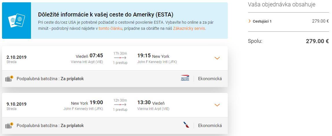 New York z Viedne s letenkami od 279 eur