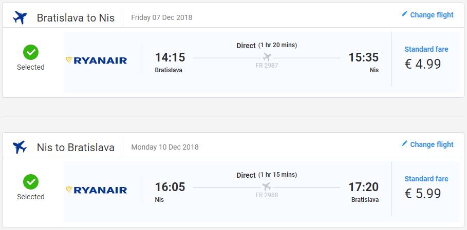 Niš z Bratislavy v decembrových termínoch od 11 eur