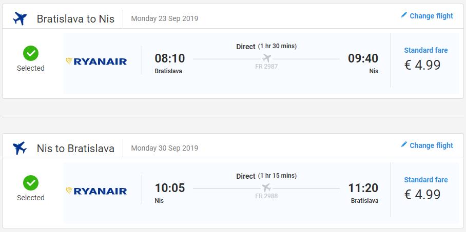 Niš z Bratislavy v septembrových termínoch s letenkami od 10 eur