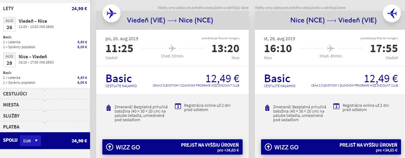 Nice z Viedne v augustových termínoch od 25 eur
