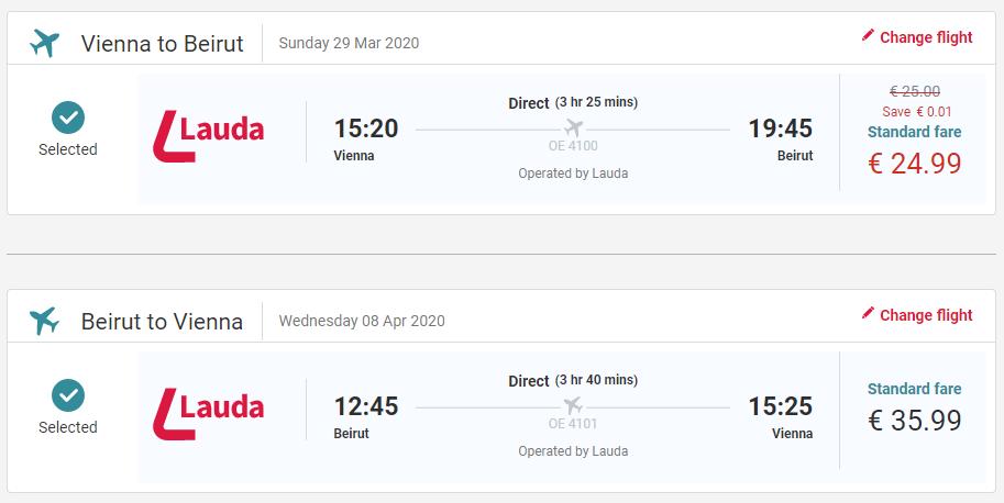 Nová linka z Viedne do libanonského Bejrútu. Spiatočné letenka s Laudamotion od 61 eur