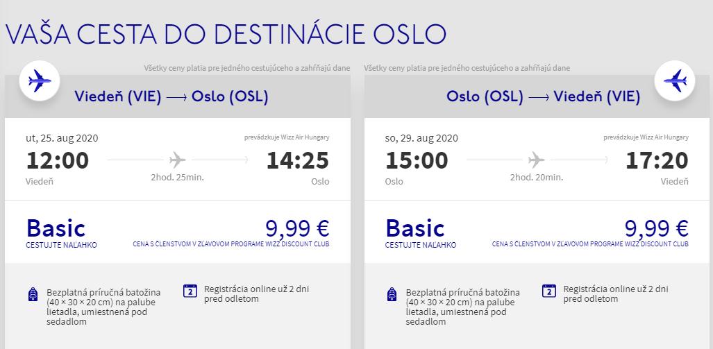 Oslo koncom letných prázdnin. Letenky z Viedne od 20 eur