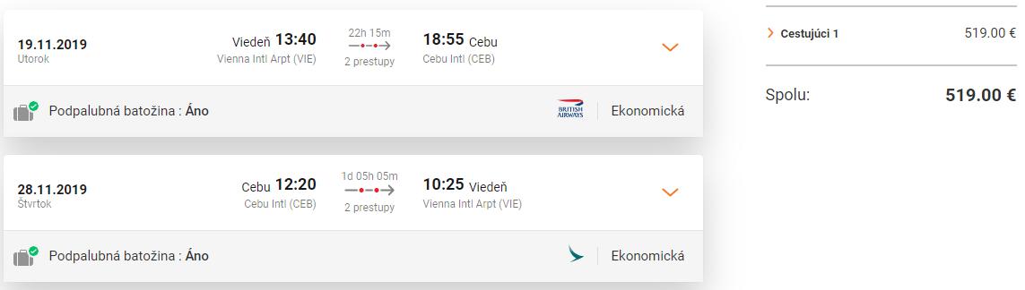 Ostrov Cebu z Viedne počas hlavnej sezóny s letenkami od 519 eur