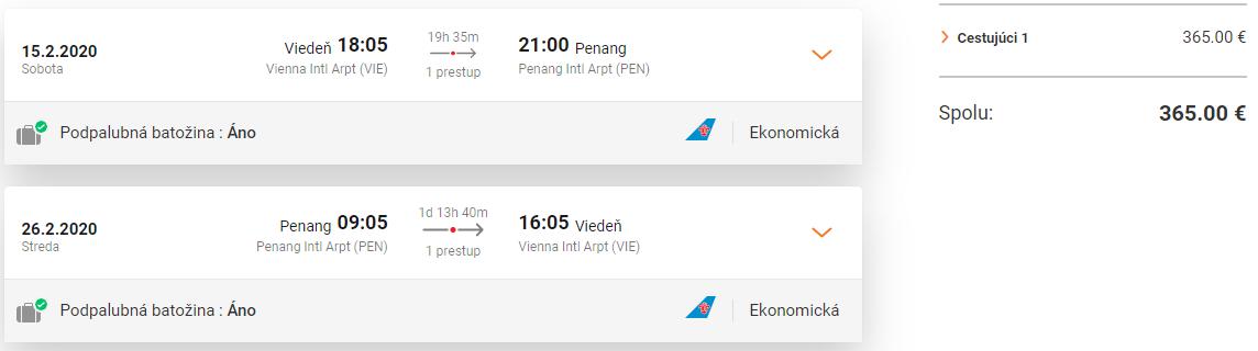 Ostrov Penang z Viedne s letenkami od 365 eur