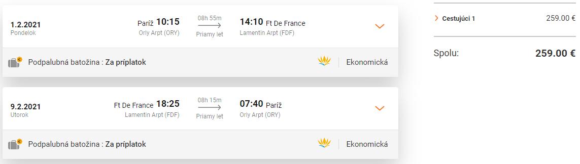 Ostrov Martinik z Paríža s letenkami od 259 eur