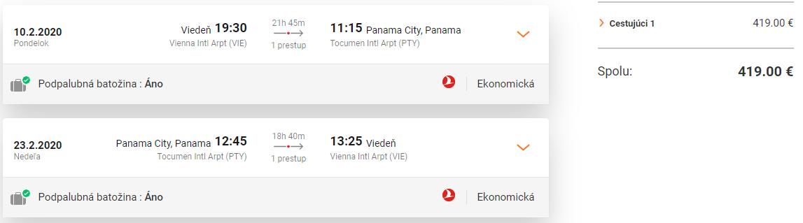 PANAMA S TURKISH AIRLINES - Spiatočné letenky z Viedne od 419 eur