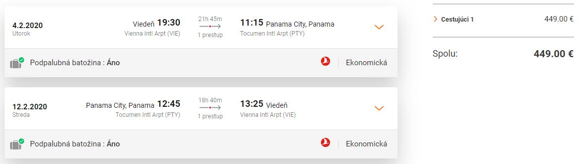 PANAMA S TURKISH AIRLINES - Spiatočné letenky z Viedne od 449 eur